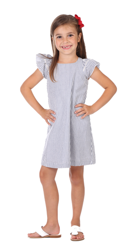 Charlevoix Dress in Navy Scallop
