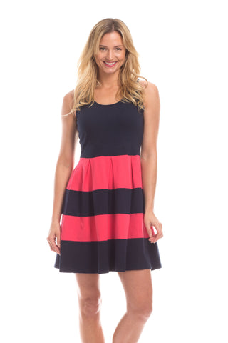 Arcadia Dress in Navy with White Stripes