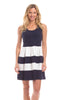 Ludington Dress in Navy with White