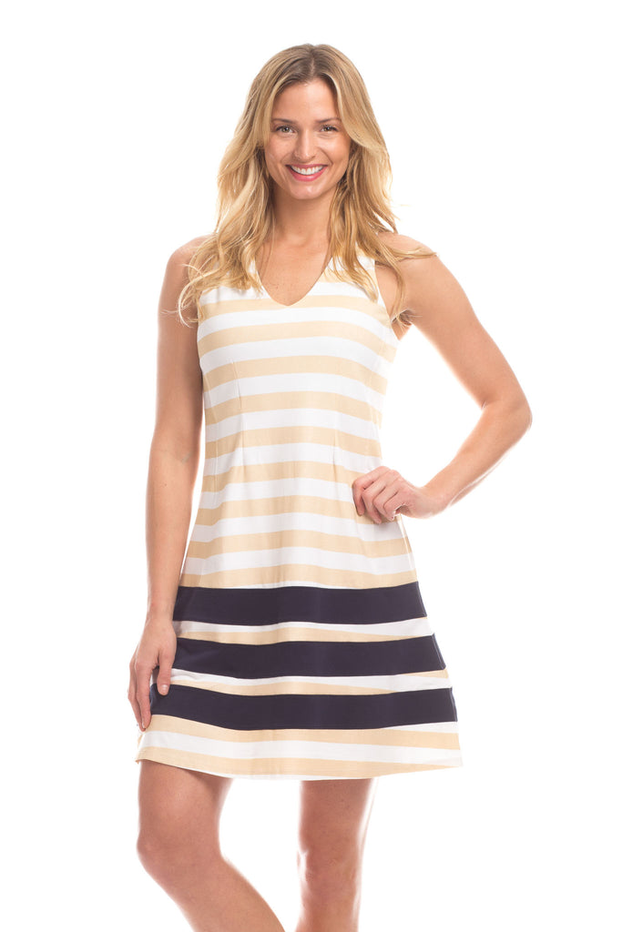 Waverly Dress in Gold Stripes with Navy