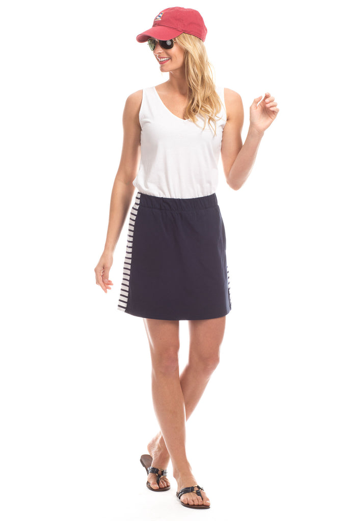 Sylvan Skort in Navy with White Stripes