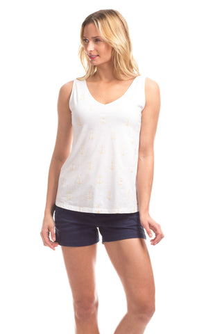 Foster Fringe Tank in White with Sky