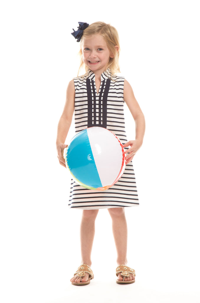 Girls Mackinac Dress in White with Navy Stripes