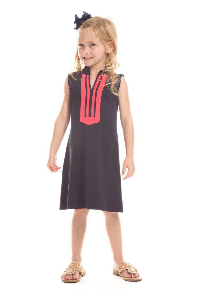 Girls Mackinac Dress in Navy with Berry