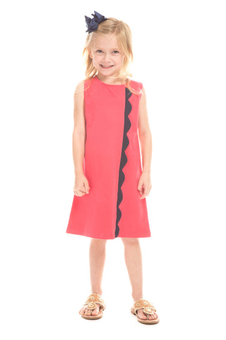 Girls Arcadia Dress in Navy with White Stripes