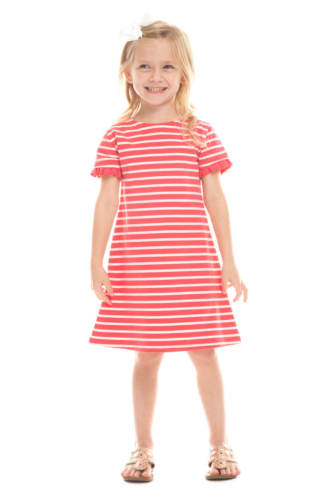 Girls Arcadia Dress in Berry with White Stripes