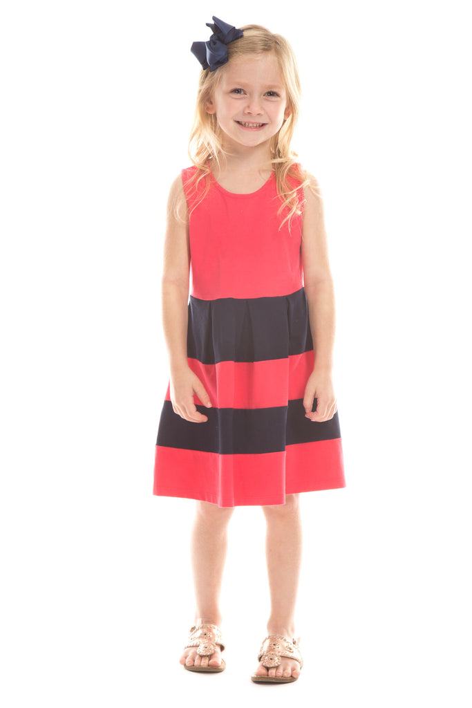 Girls Ludington Dress in Berry with Navy