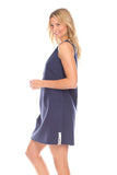 Bridgeport Dress in Navy Linen with White