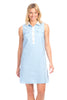 Channing Shirt Dress in Sky Linen with White