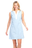 Bridgeport Dress in Sky Linen with White