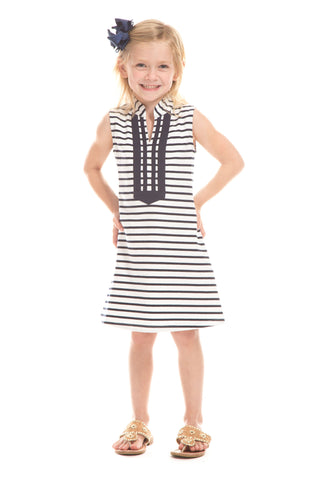 Girls Ludington Dress in Navy with White