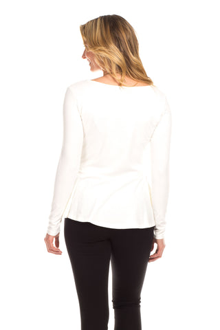 Portage Peplum Top in Ivory