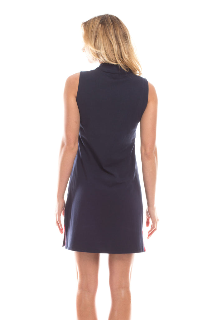 Shelby Dress in Navy with White