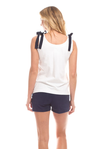 Thompson Tank Top in White with Navy