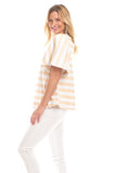 Decker Top in Gold with White Stripes