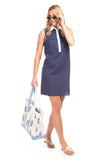 Channing Shirt Dress in Navy Linen with White