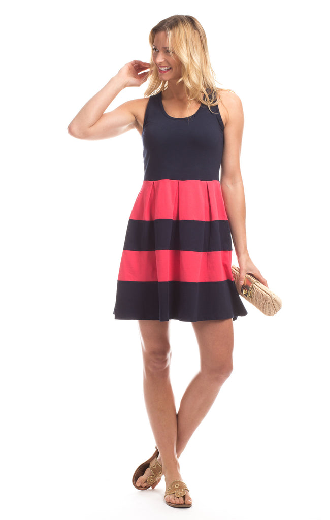Ludington Dress in Navy with Berry