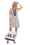 Mackinac Dress in White Stripes with Navy