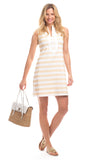 Mackinac Dress in Gold Stripes with White