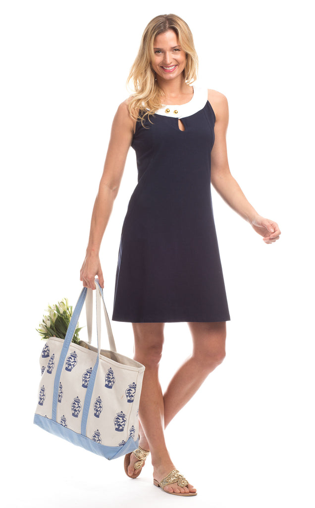 Wakefield Dress in Navy with White