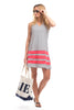 Waverly Dress in Navy Stripes with Berry