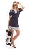 Torch Lake Dress in Navy with White Stripes