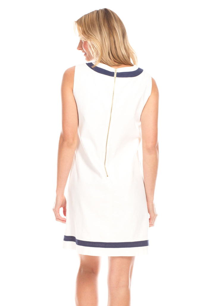Charlotte Shift Dress in White Linen with Navy