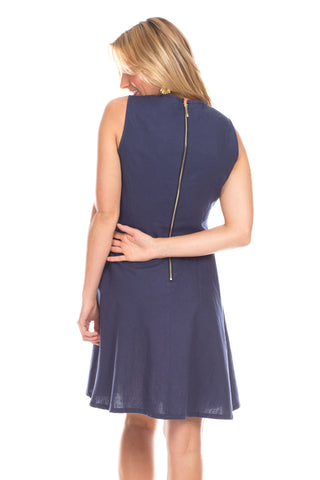 Birmingham Dress in Navy with White
