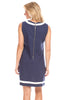 Charlotte Shift Dress in Navy Linen with White