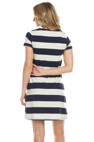 Amber Dress in Navy with Ivory Stripes