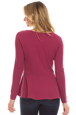 Portage Peplum Top in Merlot