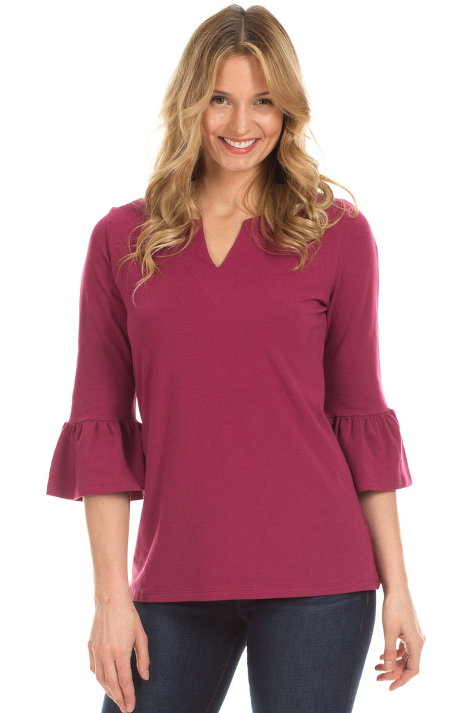 Rose Ruffle Sleeve Top in Merlot