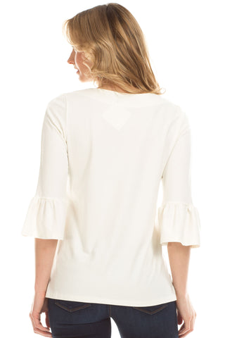 Rose Ruffle Sleeve Top in Ivory