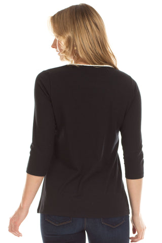 Whitney Keyhole Top in Black with Ivory