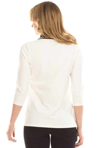 Whitney Keyhole Top in Ivory with Black