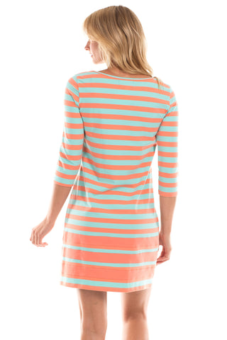 Dalton Dress in Mint with Melon Stripes