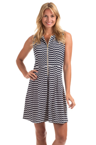 Eve Dress in Navy & White Stripe with Coral