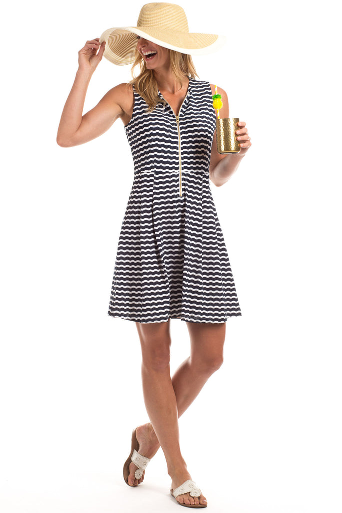 Bethany Dress in Navy Wavy Stripes