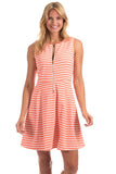 Bethany Dress in Melon Wavy Stripes