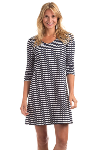 Dalton Dress in Navy Stripes with Melon