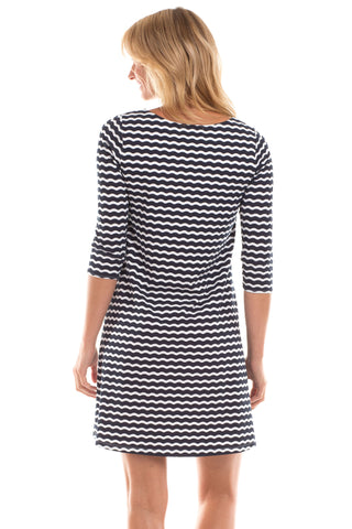 Powell Dress in Navy Wavy Stripes
