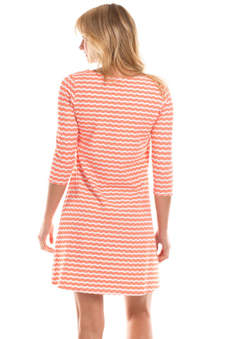 Powell Dress in Melon Wavy Stripes