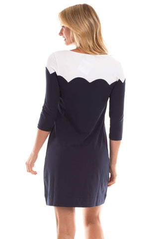 Charlevoix Dress in Navy with White