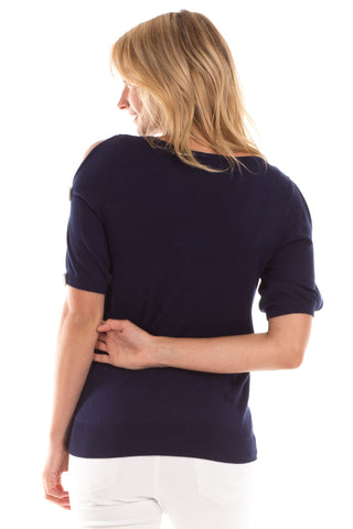 Bow Sweater in Navy with White