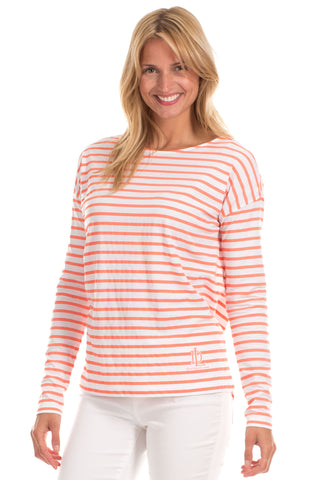Stella Ruffle Tank in Watermelon with Navy Stripes