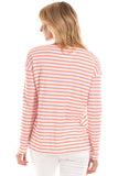 Oakley Tee in Melon with White Stripes