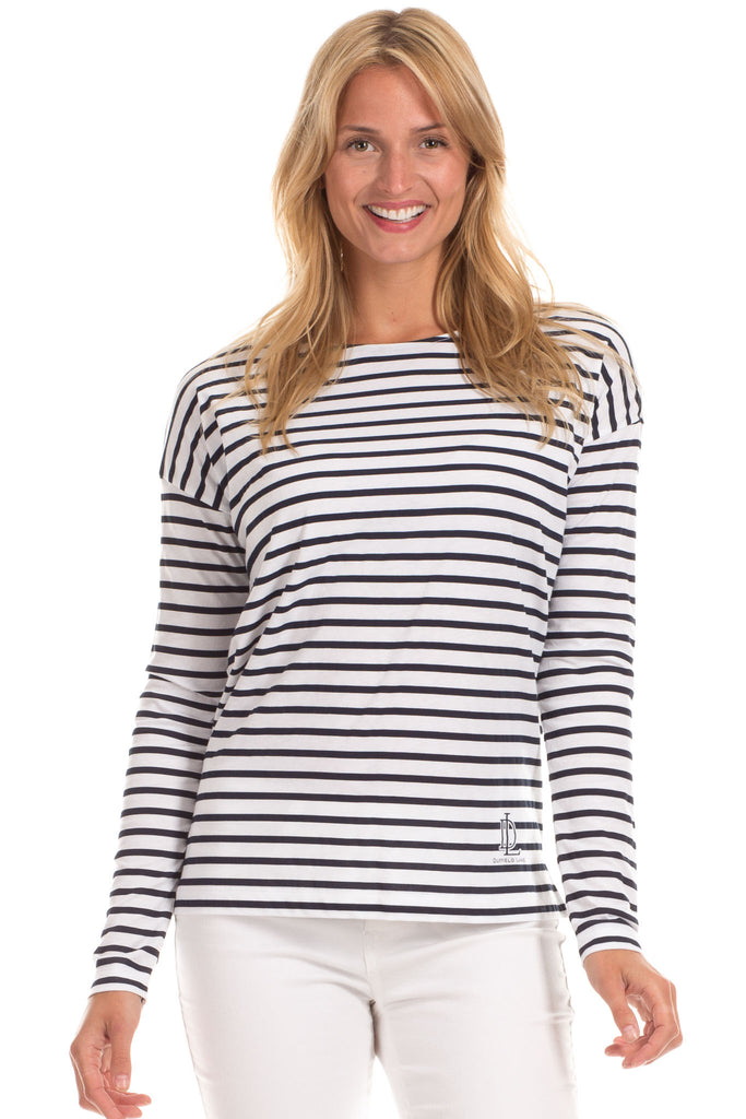 Oakley Tee in Navy with White Stripes
