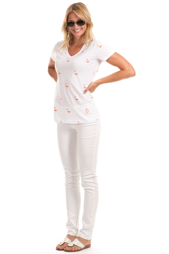 Flamingo Tee in White with Melon