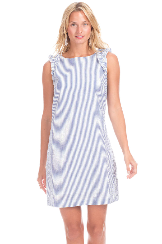 Monroe Dress in Blue Seersucker