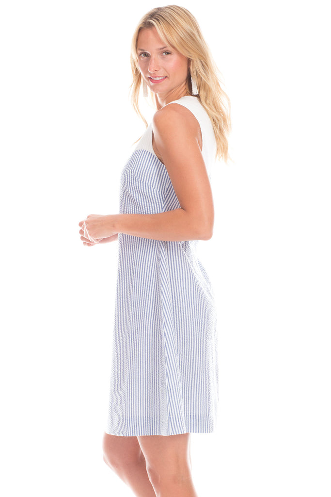 Walloon Dress in Navy with White